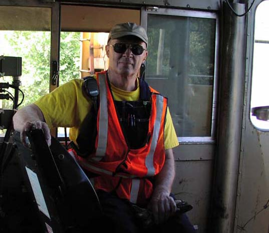 In the cab of a EMD GP-38